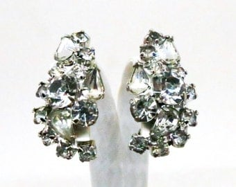 Rhinestone Earrings - Vintage, Silver Tone, Various Shaped Rhinestone Clusters, Clip-on Earrings