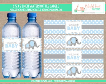 Elephant Baby Shower Water Bottle Labels, Elephant Water Bottle Wraps, Pink and Grey, Instant Download, Blue, #0007