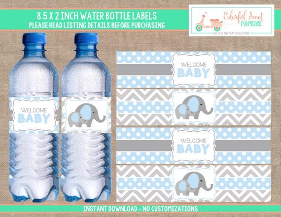 Elephant Baby Shower Water Bottle Labels Elephant Water