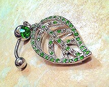 Green Leaf Crystal Belly Button Ring 14g Curved Barbell 10mm Surgical Steel 316L