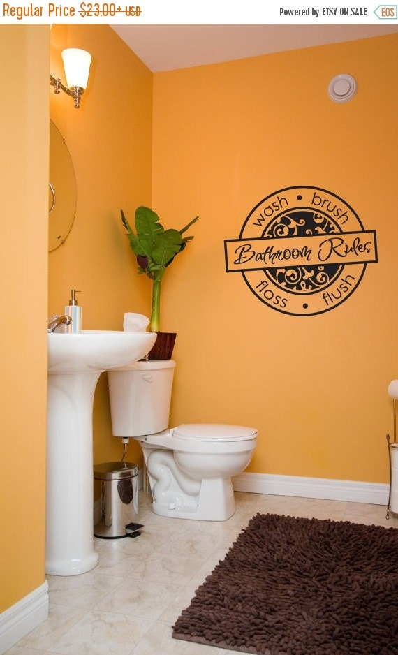 On sale bathroom rules design vinyl lettering interior by for Bathroom interior design rules