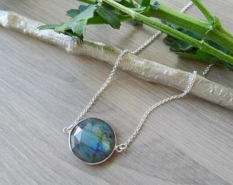 Labradorite Necklace, Sterling Silver, Simple Gemstone, Genuine Labradorite, Simple Labradorite, Large Labradorite, Geometric Necklace