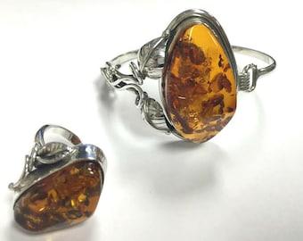 Vintage Sterling Silver Copal Amber Bracelet and Ring Set