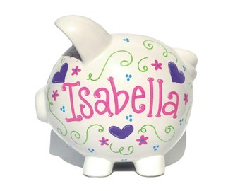 """Personalized Piggy Bank Ceramic - Hearts & Flowers - Custom - Hand-Painted Ceramic - Large Size (8"""" X 7.5"""" X 7"""")"""