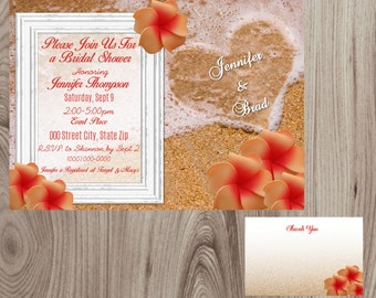 Heart in Sand  Beach Bridal Shower Invitation DIY Printable