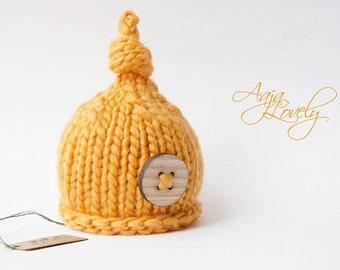Hand knitted baby newborn hat Wooden button photo prop