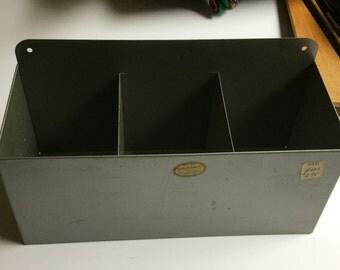 Vintage industrial gray metal Curmanco Office Organization bin/ box/ cubby