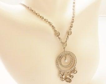 Vintage Silver Tone Monet Rhinestone Necklace