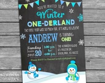 Winter Onederland Invitations, Onederland Birthday Party Invitation, Boy First Birthday Invitation, Snowman