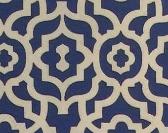 "Cobalt Blue Geometric Design!   Natural and Cobalt Blue Print Pillow Cover, 20"" Toss Pillow, Decorative Envelope Throw Pillow Cover"