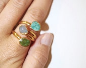Multistone Ring Adjustable Gold Plated