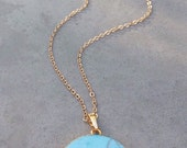 Crescent Blue Howlite Gold Plated Necklace SALE