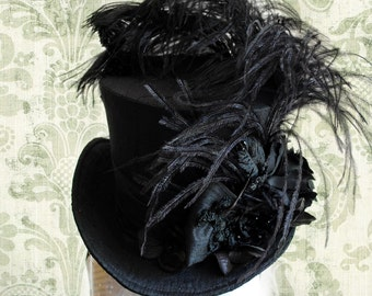 Victorian Gothic Mini Top Hat,Black Burlesque Mini Top Hat,Halloween Costume,Gothic Tea-Party Hat with flowers-Ready to Ship