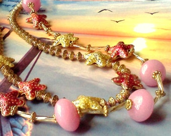 Starfish Jewelry, Beach Themed Jewelry, Hand Crafted Jewelry, Two Strand Starfish Necklace, Seashore Jewelry, Spring Pink Jewelry, Starfish