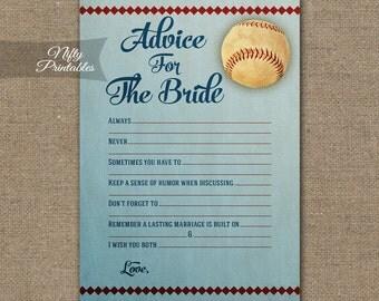 Bridal Shower Advice Cards - Baseball Advice For The Bride - Baseball Bridal Advice Shower Game - Printable Bridal Games BSB