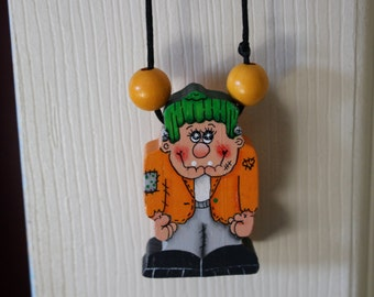 Hand painted wod Frankinstein Necklace