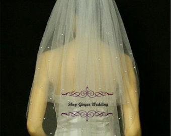 Fingertip 2 Tiers Tailor Custom Handmade Crystal Rhinestones Wedding Bridal Cut Edge Veil