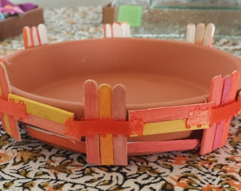 Decorated Clay Saucer