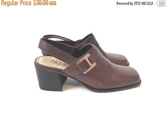 SUMMER SALE 90s Brown Leather Mules