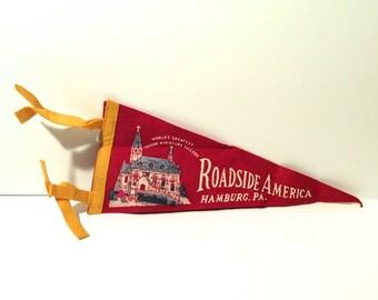 Vintage Roadside America, Hamburg, PA Red Felt Pennant Size Small