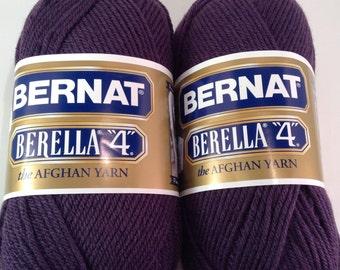 Bernat Berella 4 Yarn in color Deep Mauve, Lot of 2 skeins