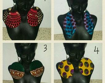 PETIZ African Print Medium Round/Oval Earrings