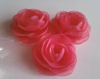 PINK CORAL Hair Clips Pink Coral Hair Flowers Coral Boutonniere Pink Coral Shoe Clips Coral Flower Girl Pink Coral Lapel Pin Lapel Flower