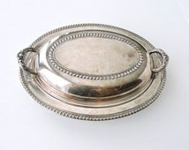 Vintage Silver Covered Serving Dish, Oval Lidded Vegetable Dish, Silver Plated Dish, Silverplate Casserole Dish, Bowl, Holiday Table