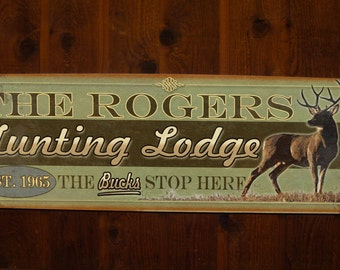 Large Hunting Lodge/Camp Tin Sign - Free Personalization