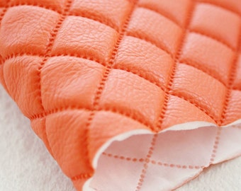 Quilted Faux Leather Fabric Orange
