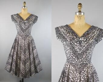 1950s Black and White R & K Dress w/ Full Skirt