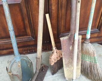 Lot of 6 garden tools antique rustic