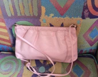 Leather pink purse/ handbag with shoulder strap 80s era