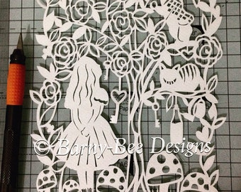 Alice in Wonderland - papercut template - personal use - A4 size - the adventures of wonderland -fairytale - papercutting - templates -