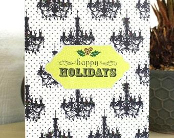 Happy Holidays Elegant Chandelier Handmade Christmas Card