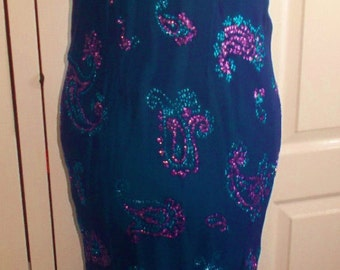 Vintage Monsoon purple dress-inlaid crystals.size 10/12 stretchy,calf length