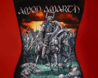 AMON AMARTH diy halter top viking death metal reconstructed altered  shirt  XS S