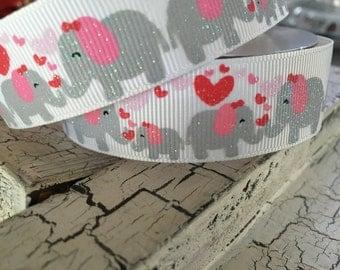 """7/8"""" Glitter hearts elephant girl baby shower grosgrain"""