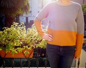 SALE - Knitted merino wool sweater, slouchy cropped cut, raglan sleeves, crew neck, two colour, grey and mustard yellow
