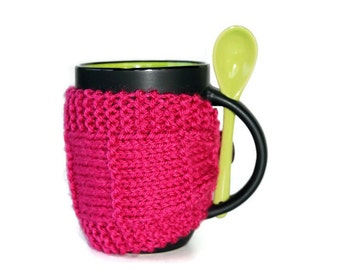 Knitted Mug Cozy - Pink Mug Cozy - Coffee Cup Cozy - Pink Cozy - Tea Mug Cozy - Mug Jacket - Hot Pink Mug Sleeve  - Knitted Drink Sleeve