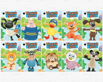 Timmy Time Birthday Party Thank You Favor Tags - Timmy Paxton Yabba Otus Kid and more friends - DIY Party Printable Instant Download