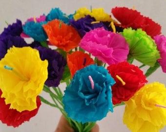Day of the Dead, 10 Crepe Paper Flowers, Dia de Los Muertos, Mexican Flowers, Fiesta Decorations, Altar Flowers, Cinco de Mayo, Luau