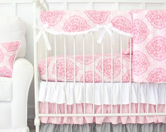15% OFF SALE - Delaney's Pink and Gray Damask Bumperless Crib Bedding | Girl Crib Set in Pink and Gray Damask