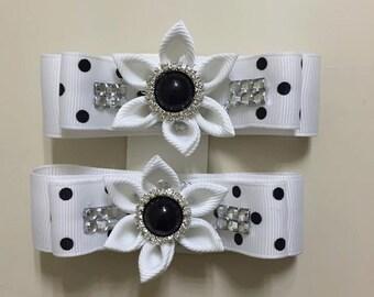 Black and White Girl Hair Clips- Handmade