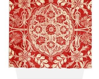 Shower Curtain, Home Decor, Bathroom Decor, Vintage Red