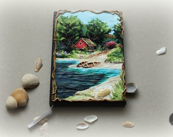 Lanscape inspired The Wicher game from polymer clay notebook cover