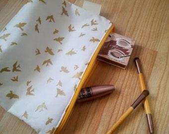 Metallic Gold Bird Make Up Pouch, Make Up Bag, Zipper Pouch
