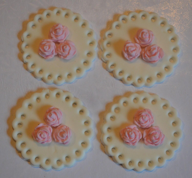 12 Fondant Flower Cupcake Toppers flower cupcake topper