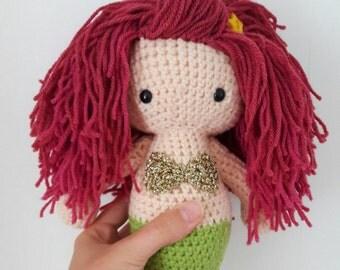 Crochet Mermaid handmade amigurumi decorative doll - pink purple hair - emo - the little mermaid - nursery decor - MADE TO ORDER