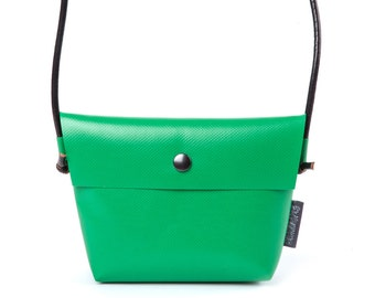Green handbag NATHALIE, from canvas with leather cord